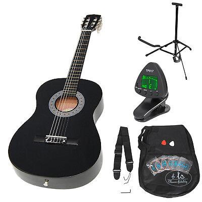 3/4 Guitare enfants classique acoustique noir 8-12 ans avec accessoires