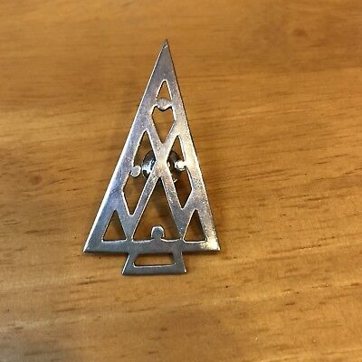 Signed Rib Sterling Silver CHRISTMAS TREE Brooch Pin - ADORABLE!!!