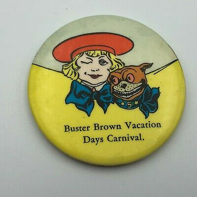 1946 Buster Brown Vacation Days Carnival Vtg Advertising Pocket Purse Mirror M8