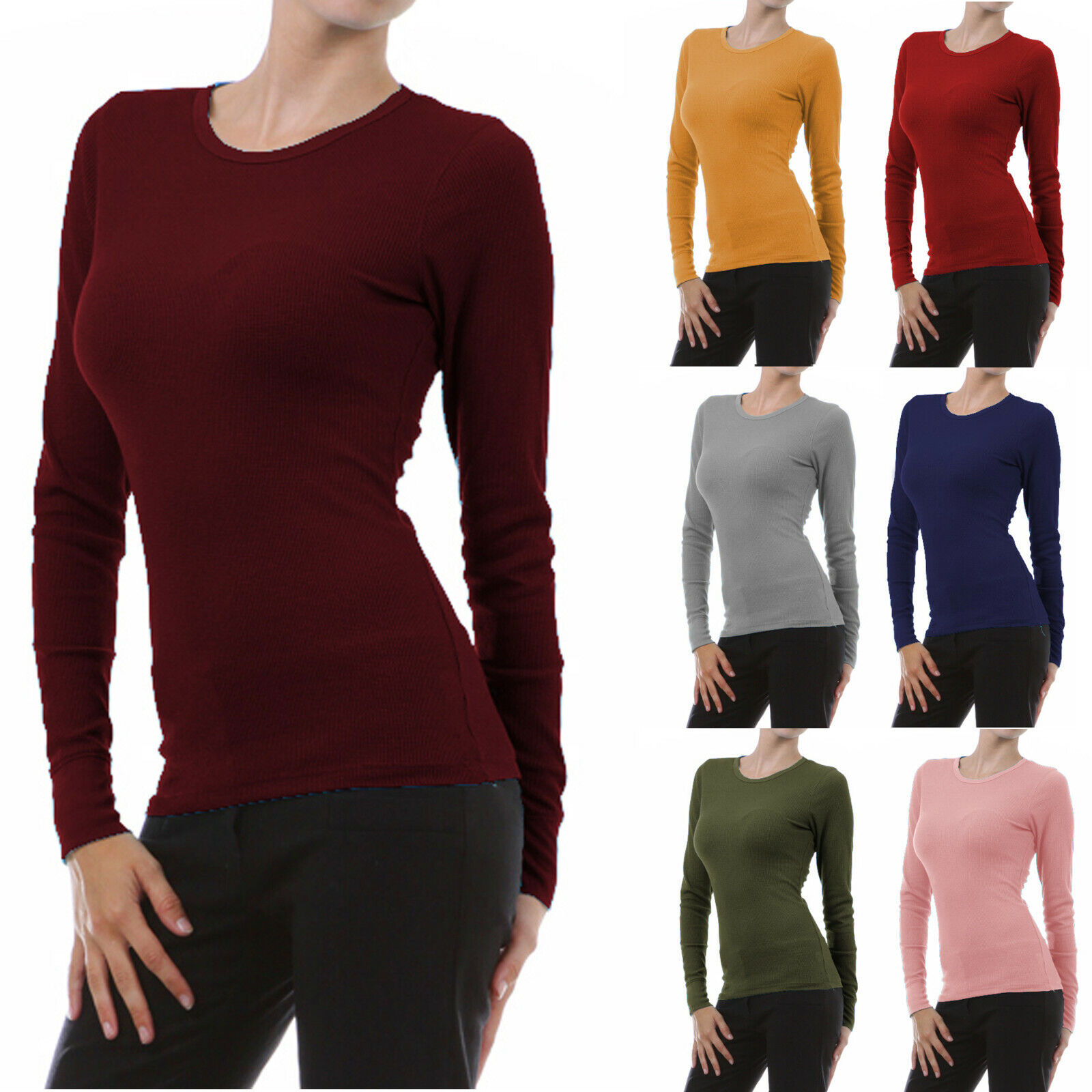 как выглядит Womens Long Sleeve THERMAL CREW NECK Basic Top T-Shirt Layering Soft Warm Plain фото