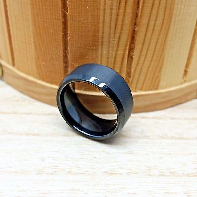 10mm Tungsten Carbide Black IP Plated with Beveled Edge Wedding Band Ring 10mm Tungsten Black Jewelry
