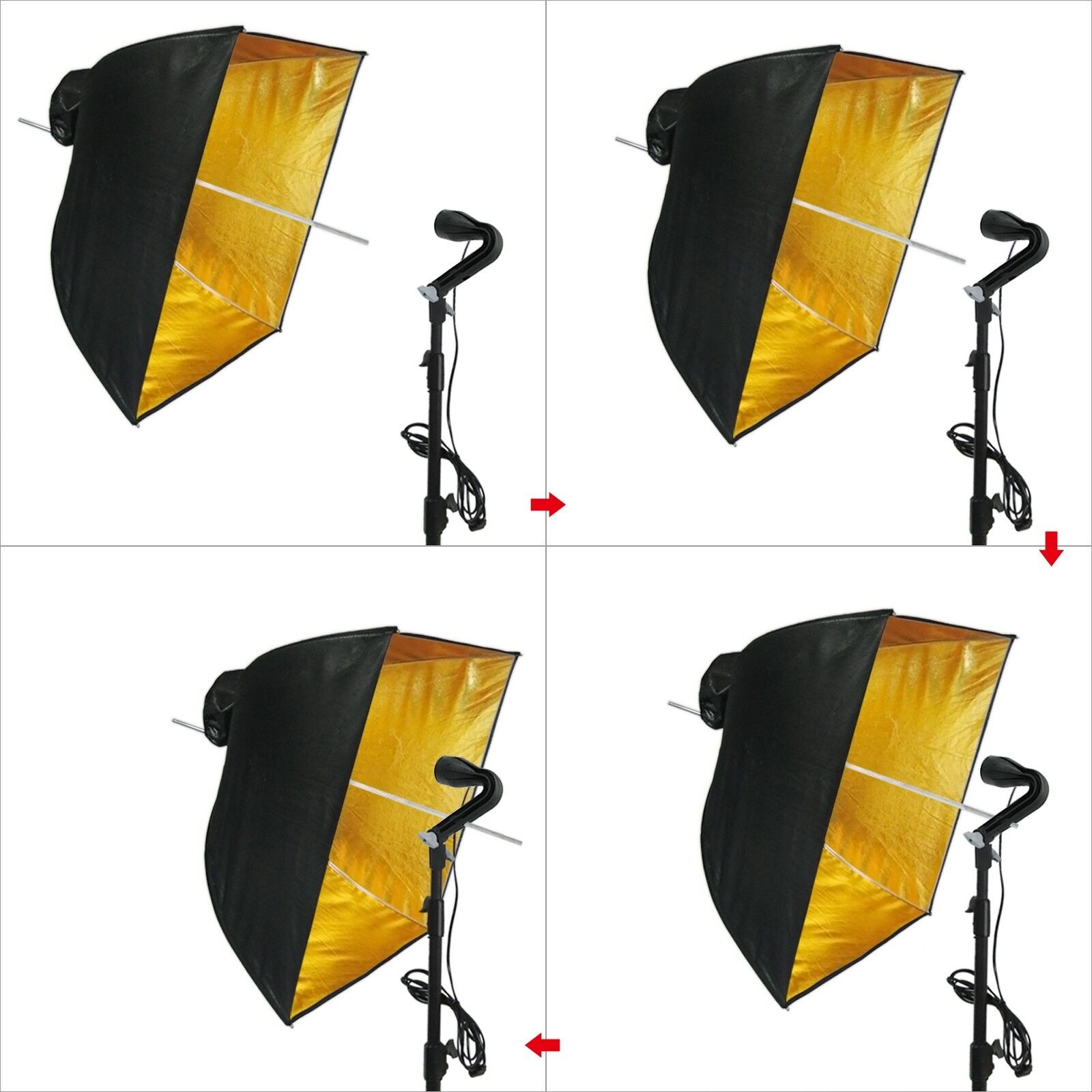 Reflective Umbrella Softbox: 《US SELLER》LINCO Square Gold Photography Studio Reflective