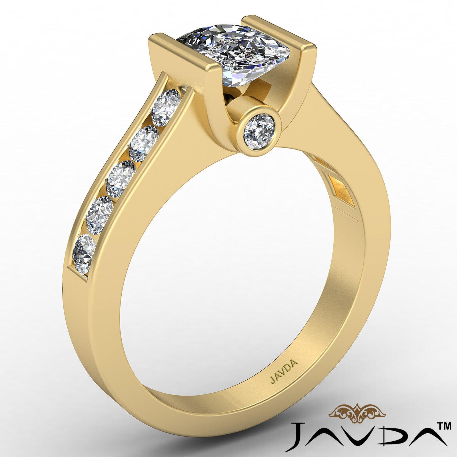 Bezel Cushion Diamond Engagement Women's Ring GIA, J Color SI1 clarity 1.53 ctw. 4