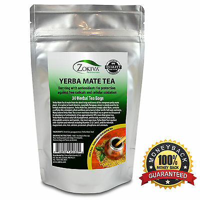 Yerba Mate Tea 100% Pure (30 Premium Bags) All-Natural Immune System Support