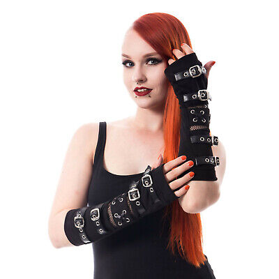 Poizen Industries Goth Punk Black Buckle Straps Arm warmers Sleeves](Black Arm Warmers)