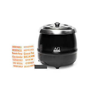 Commercial Black 10L Soup Kettle Hinged Lid Warmer Cooker Heater