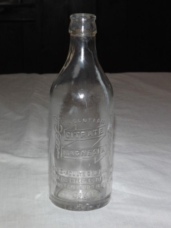 VINTAGE EARLIER 1900S CITRATE MAGNESIA  MEDICINE BOTTLE