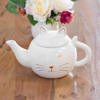 Kitty Cat White & Gold Ceramic Teapot 0.8L Tea Coffee Pot Novelty Cat Lover Gift