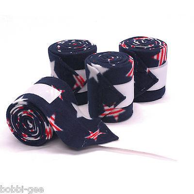 PATRIOTIC STAR PRINT - RED, WHITE & BLUE - FLEECE POLO LEG WRAPS – HORSE SIZE (Printed Polo Wraps)