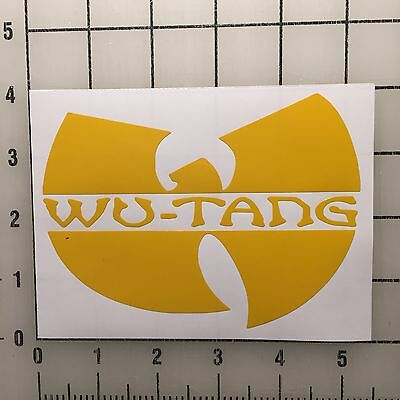 "Wu Tang Street Wear 5"" Wide Yellow Vinyl Decal Sticker Set - BOGO"