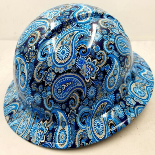 New Full Brim Hard Hat Custom Hydro Dipped Blue Brad Paisleys . Free Shipping! 2