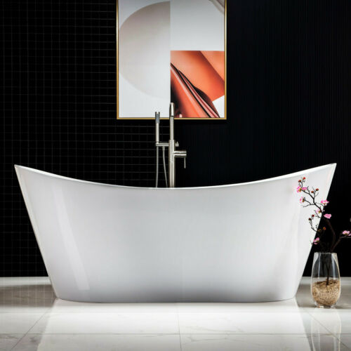 "WOODBRIDGE 71"" Acrylic Freestanding Soaking Tub with overflow & drain B/N B0017"