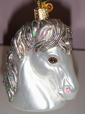 "Old World Christmas White w/silver mane  ""Horse Head""""  Ornt"