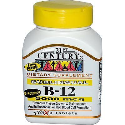 21St Century Vitamin B12 5000Mcg High Potency Tablets 110Ct  Exp  Date 10 2019