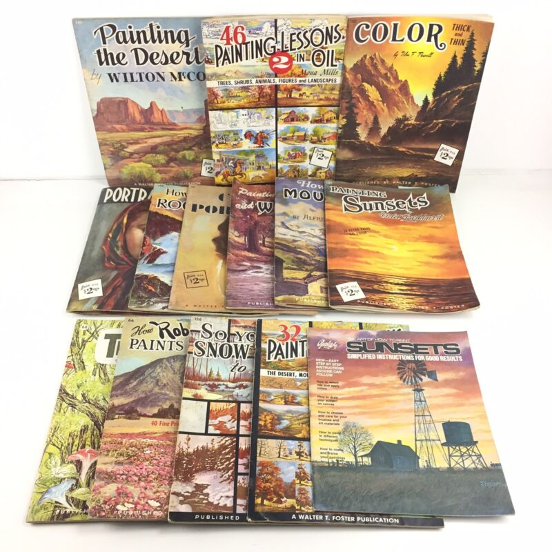 Walter T. Foster Art Books - Lot Of 14 - Oil, Landscapes, Trees, Portraits