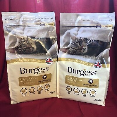2 x Burgess Dry Adult Cat Food Chicken Dental Care Digestion Urinary Skin Coat