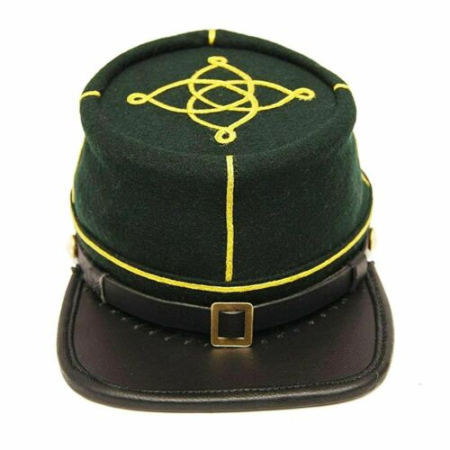 US Civil War Sharpshooter Lieutenant Officer Wool Kepi Leather Peak Cap Hat