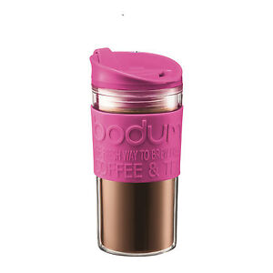 Bodum 0.35L 12 oz Double Wall Plastic Travel Mug Pink Insulated Thermal Coffee