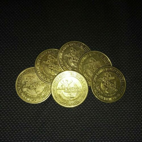 6 - Anchor Games, Anchor Gaming Tokens, Coins Circulated / Vintage / Slots - $1.00