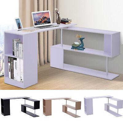 360° Rotating Corner Desk and Storage Shelf Combo L-Shaped