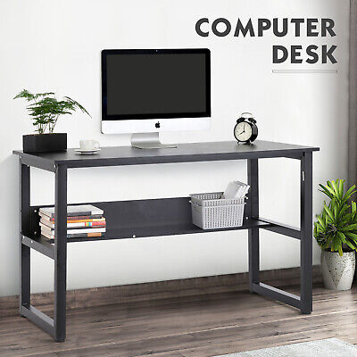 Computer Desk Laptop Pc Study Table Workstation With Shelf Adjustable Feet Pads