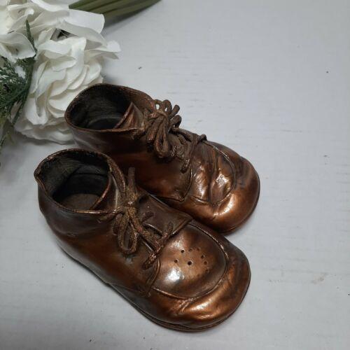 2 Vintage Gold Copper Bronze Baby Booties Shoe Figurine Planter Nursery Decor - $5.00