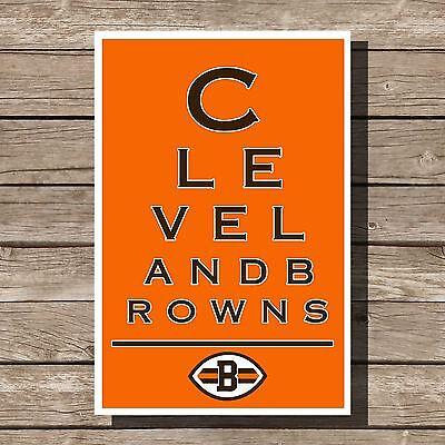 Cleveland Browns Art Football NFL Eyechart Poster Man Cave Decor 12x16