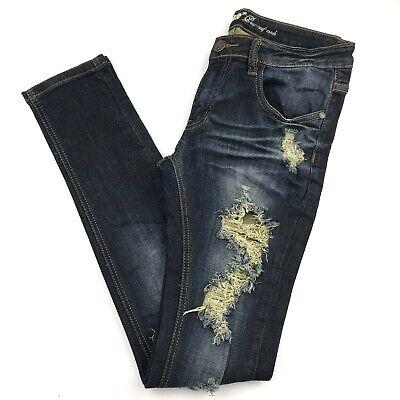 Machine Women 30 Skinny Jean Dark Wash Destroyed Ripped Cotton 30