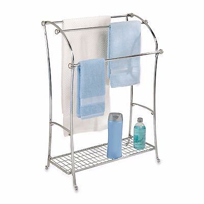 Chrome Finish 3-Rod Free Standing Towel Stand with Grid Shelf New