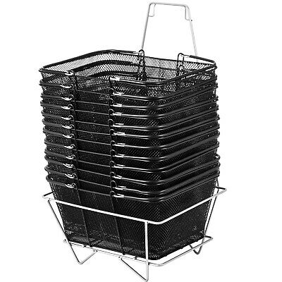 Vevor 12pcs Shopping Baskets W Handles Black Metal Wire Basket Set For Store