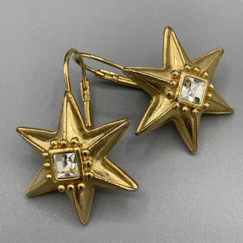 Gold Tone Star Earrings with Clear Rhinestone Pierced