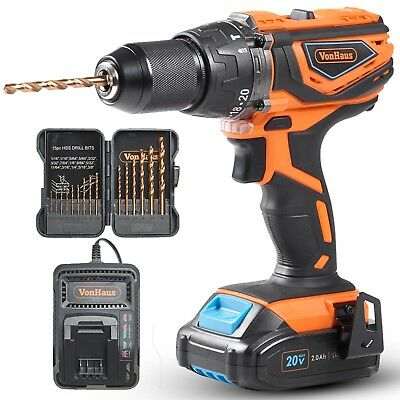 "VonHaus Cordless Drill Driver 1/2""with Hammer Drill, Battery & Charger Kit - 20V"