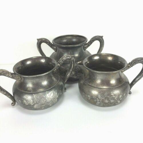 Rockford Silver Co Quadruple Plated Sugar Creamer Waste Bowl Set of 3