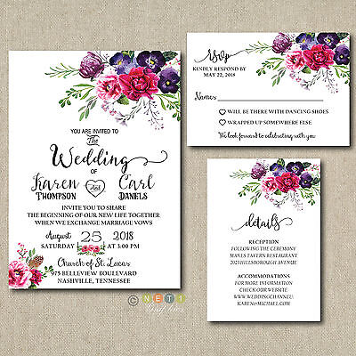 100 Personalized  Wedding Invitations Magenta Floral Suite with Envelopes ](Floral Wedding Invitations)