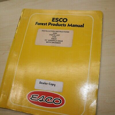 Esco 72 Grapple Head Snubber Parts Operator Operation Guide Owner Manual Book