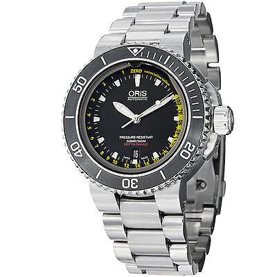 Oris Men's Aquis Depth Gauge Black Dial Steel Automatic Watch 73376754154MB
