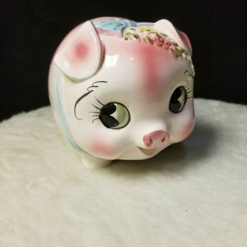 Vintage Ceramic Big Eyed Piggy Bank with Pink and Yellow Flowers and Blue Bow