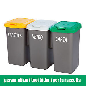Adesivo wall stickers bidoni raccolta differenziata carta - Bidoni per differenziata casa ...