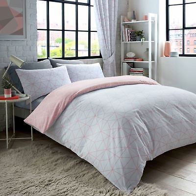 METRO PRISM TRIANGLE SINGLE DUVET COVER SET BLUSH GREY MODERN GEOMETRIC BEDDING