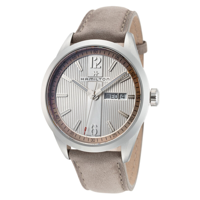 Hamilton-Men-Broadway-H43311915-40mm-Silver-Dial-Leather-Watch