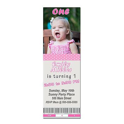 30 Ticket Invitations Pink Polka Dots Girl 1st Birthday Party Invites Photo A1 Polka Dots Invite