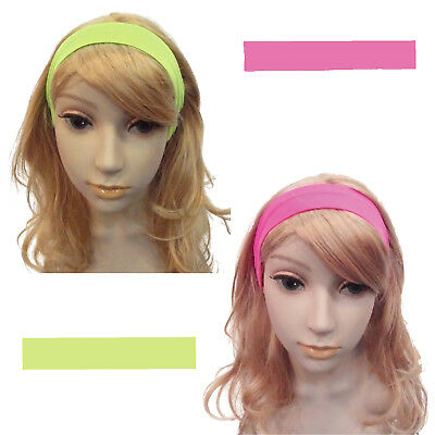 Neon Stirnband 80er grün o. pink Haarband Haarschmuck  Kostüm Accessoires Party (80er Haar Band Kostüm)