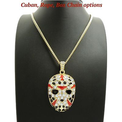 Iced Out Slaughter Gang Mask Pendant 24  Box  Cuban  Rope Chain  Necklace