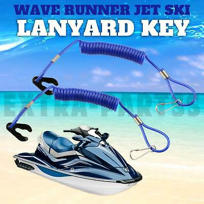 2 New PWC Jet Ski WaveRunner Key Lanyard Stop Kill Switch Safety BLUE For Yamaha