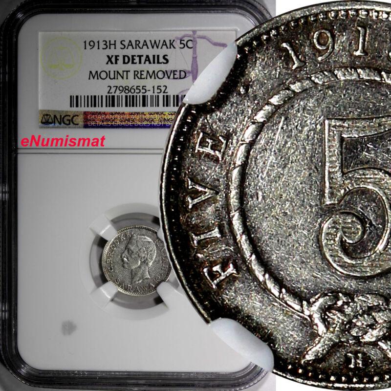 SARAWAK Charles J. Brooke Silver 1913 H 5 Cents  NGC XF DETAILS RARE KM# 8