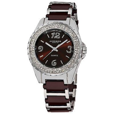 Women's Akribos XXIV AK514BR Quartz Crystal Bezel Brown Ceramic Bracelet Watch