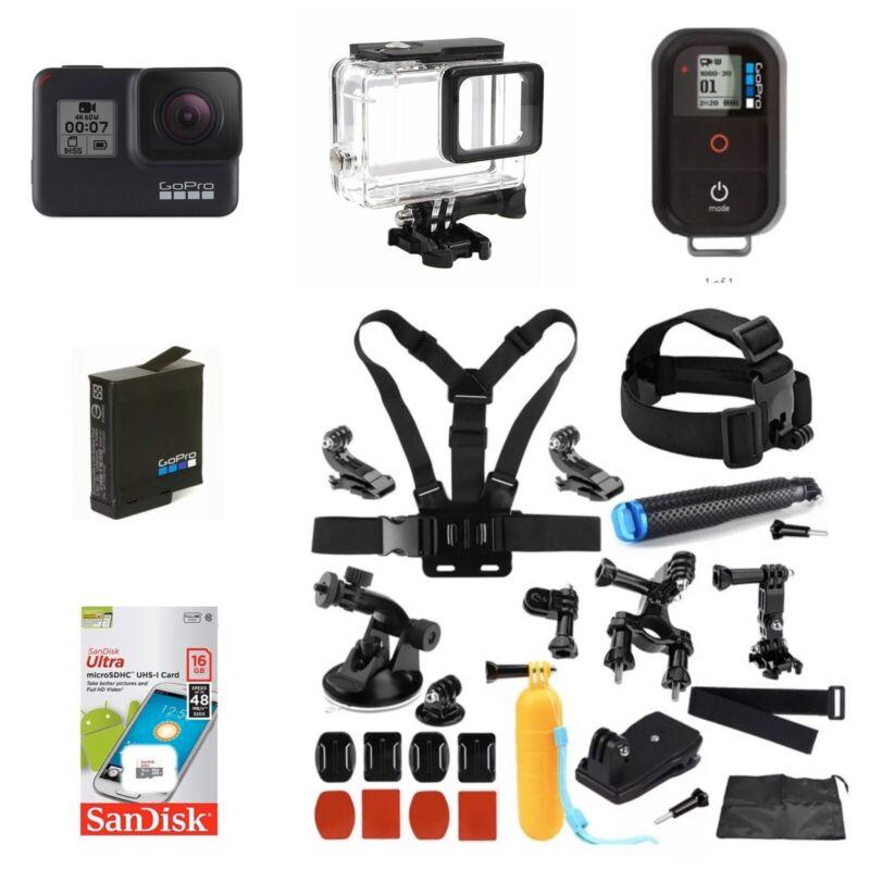 GoPro Hero7 Black CHDHX-701 + Smart Remote +16GB Card + Extreme Sports Bundle