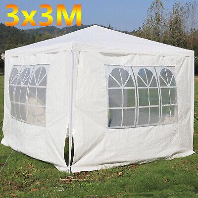 PE Gazebo 120g Waterproof Garden Marquee Canopy Tent 3Mx3M White Heavy Duty