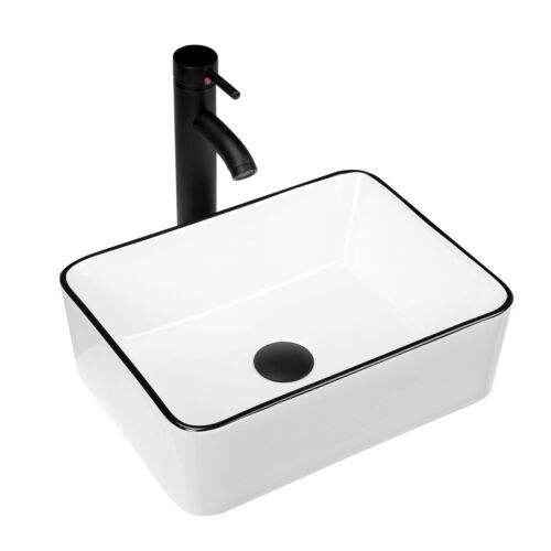 KGAR Ceramic Bathroom Vessel Sink with Faucet and Pop up Drain Combo,16