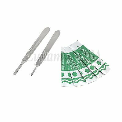 2 Assorted Scalpel Knife Handles 3 4 50 Surgical Carbon Steel Blades 10 22